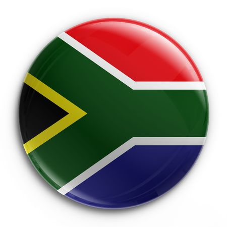 south african: 3d rendering of a badge with the South African flag