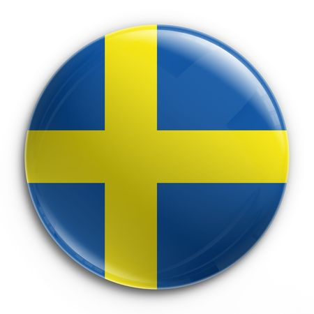 swedish: 3d rendering of a badge with the Swedish flag Stock Photo