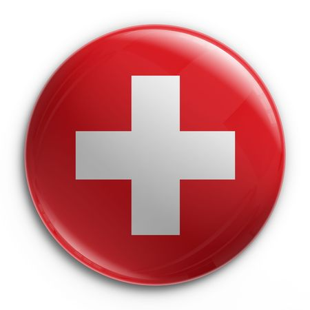3d rendering of a badge with the Swiss flag Stock Photo
