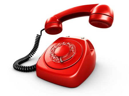 rotary dial telephone: 3d rendering of an old vintage phone
