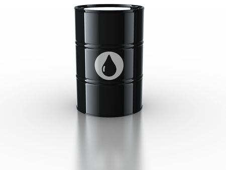 3d rendering of oil drum on reflective white floor photo