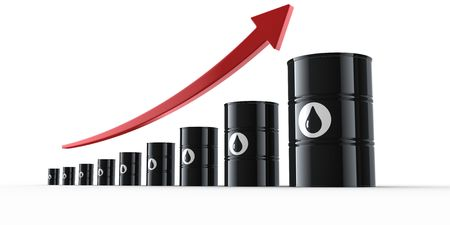 oil drum: 3d rendering showing the increasing prices of oil.