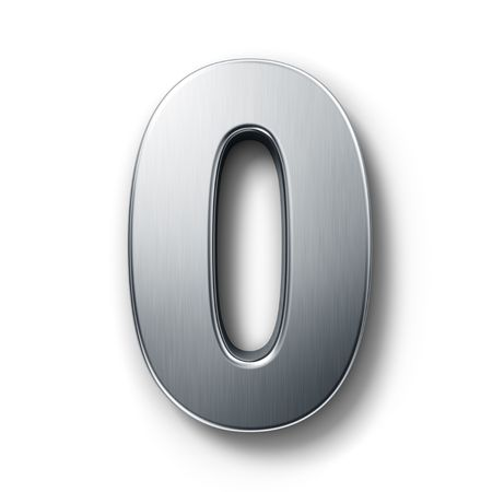 3d rendering of the number 0 in brushed metal on a white isolated background. photo