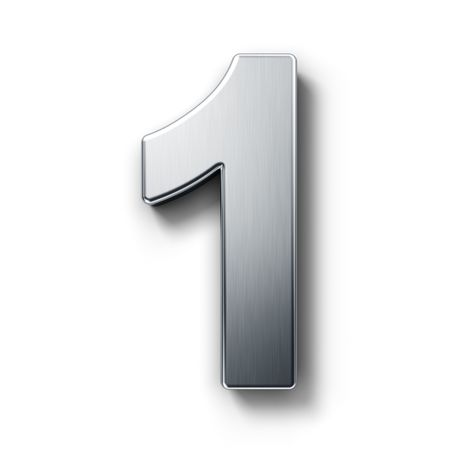 3d rendering of the number 1 in brushed metal on a white isolated background.