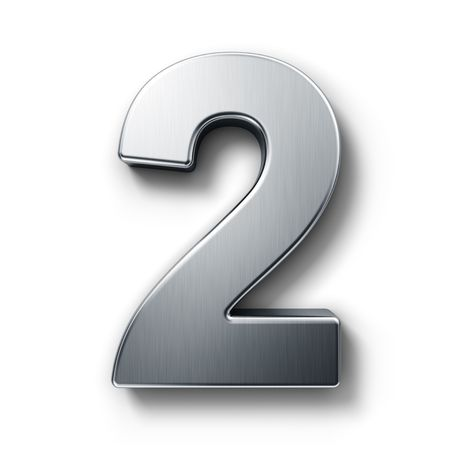 3d rendering of the number 2 in brushed metal on a white isolated background. Stock Photo