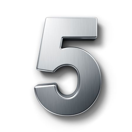 number 5: 3d rendering of the number 5 in brushed metal on a white isolated background.
