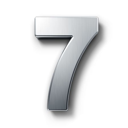 seventh: 3d rendering of the number 7 in brushed metal on a white isolated background.