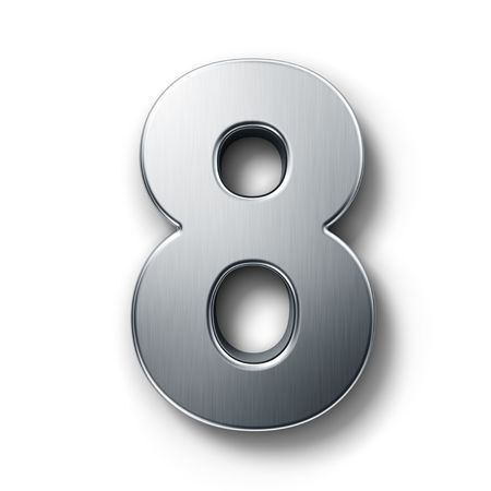 3d rendering of the number 8 in brushed metal on a white isolated background. Stock Photo