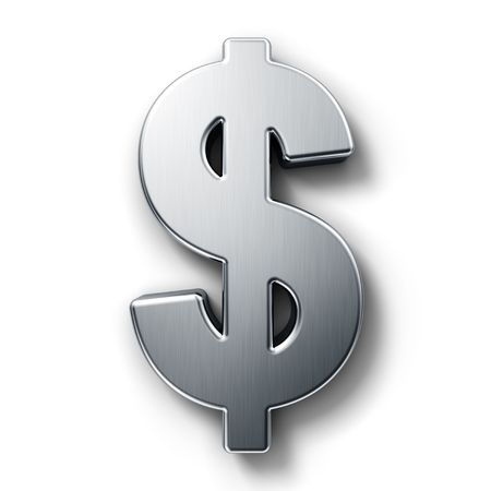 dollar icon: 3d rendering of the dollar sign in brushed metal on a white isolated background. Stock Photo