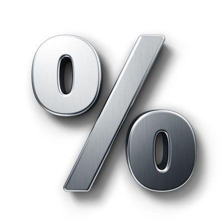 Rendering 3D del simbolo di percentuale in metallo spazzolato su sfondo bianco isolato.