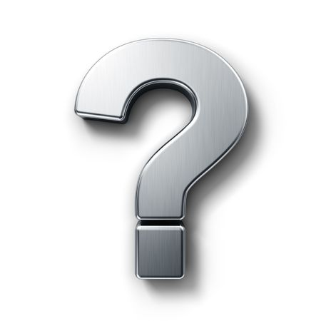 question icon: 3d rendering of the question mark sign in brushed metal on a white isolated background. Stock Photo
