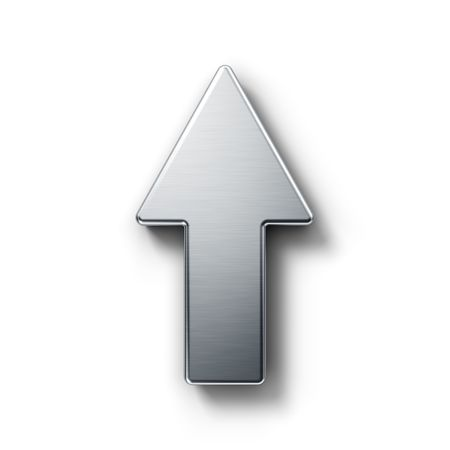 pointing up: 3d rendering of an arrow symbol in brushed metal on a white isolated background.