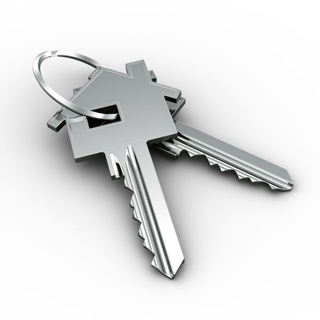 3d rendering of a two house keys