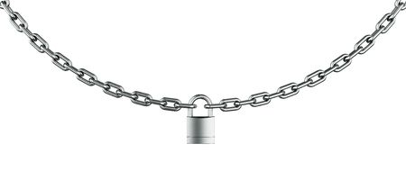 3d rendering of a padlocked chain photo