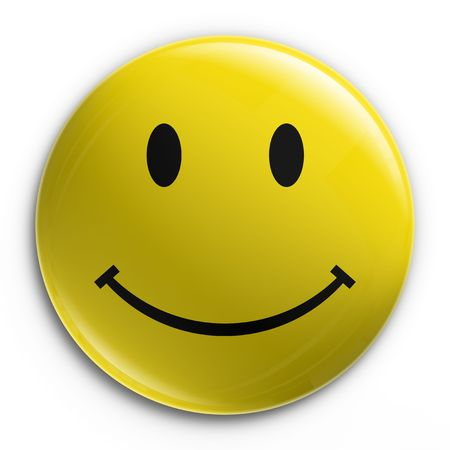 rendering: 3d rendering of a badge with a happy smiley