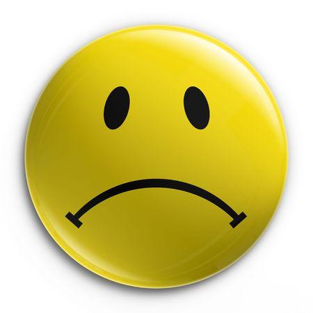 caras tristes: 3D de una placa con un emotic�n triste  Foto de archivo