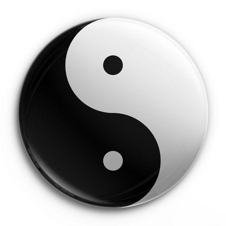3d rendering of a Yin Yang badge