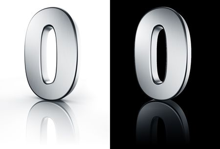 3d rendering of the number 0 in brushed metal on a white and black reflective floor. photo