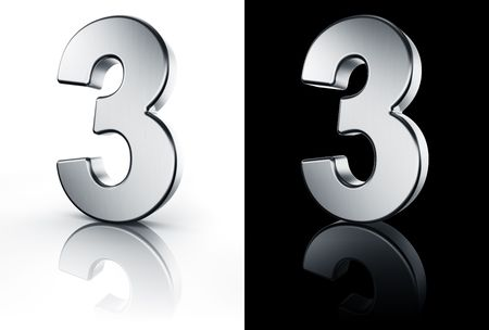 3d rendering of the number 3 in brushed metal on a white and black reflective floor. Stock Photo