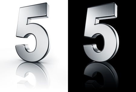 3d rendering of the number 5 in brushed metal on a white and black reflective floor. Stock Photo