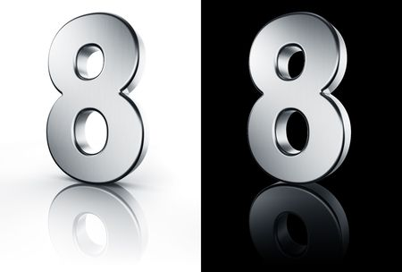 3d rendering of the number 8 in brushed metal on a white and black reflective floor. photo