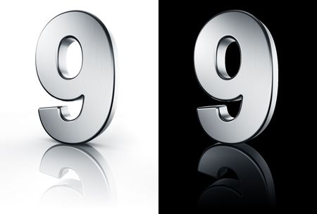 ninth: 3d rendering of the number 9 in brushed metal on a white and black reflective floor.