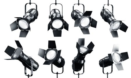 3d rendering of multiple spotlghts on a white background photo