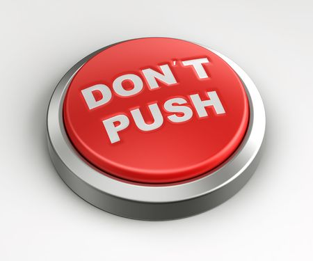 3d rendering of a red button with dont push written on it. photo