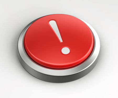 3d rendering of a red button with a exclamation point on it. photo