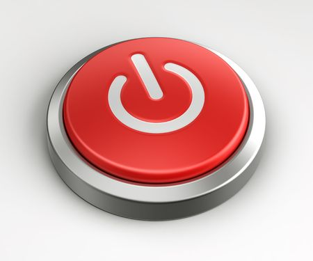emergency button: 3d rendering of a red button with an on off logo on it.