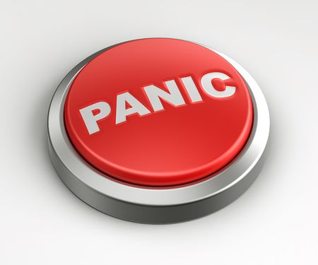 3d rendering of a red button with panic written on it. Stock Photo