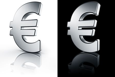 3d rendering of the euro sign in brushed metal on a white and black reflective floor. photo