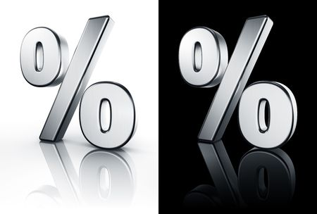 3d rendering of the percentage sign in brushed metal on a white and black reflective floor.