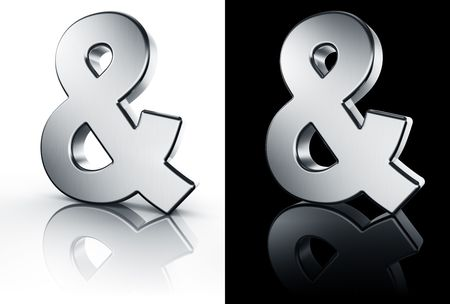3d rendering of the and sign in brushed metal on a white and black reflective floor. photo
