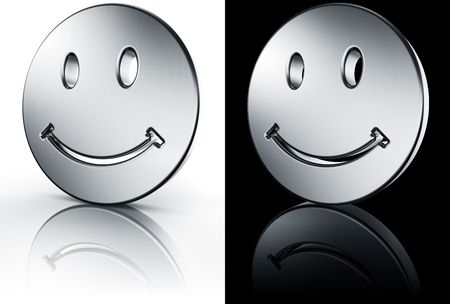 3d rendering of a smiley face in brushed metal on a white and black reflective floor.