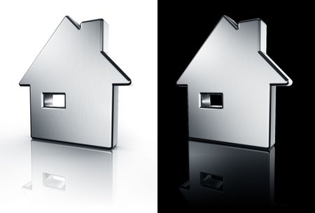 3d rendering of a house in brushed metal on a white and black reflective floor. photo