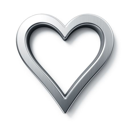 heart outline: 3d rendering of a sign in brushed metal on a white isolated background. Stock Photo