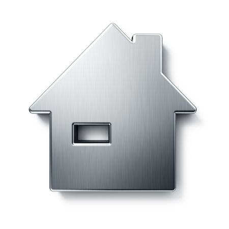 3d rendering of a house in brushed metal on a white isolated background. photo