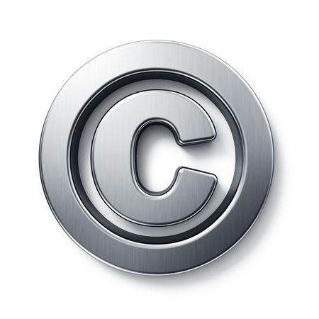 3d rendering of the copyright sign in brushed metal on a white isolated background.
