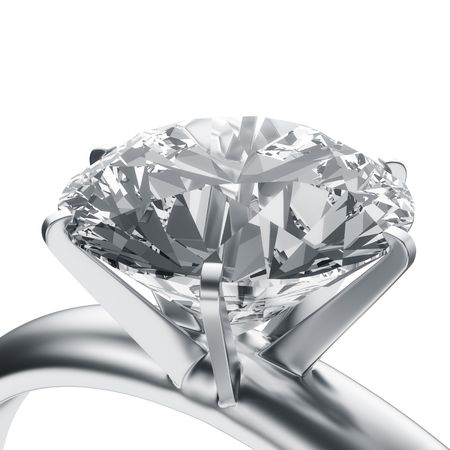 silver jewelry: 3d rendering of a diamond ring