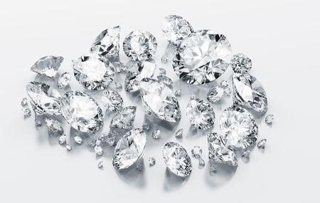 3d rendering diamonds on a white reflective floor