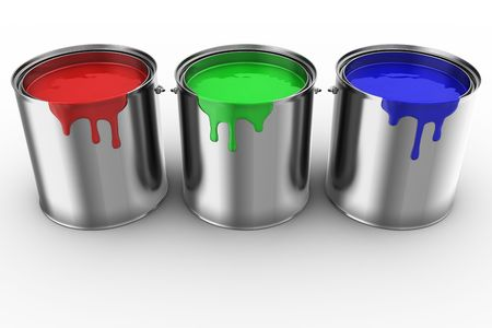 3d rendering of 3 paint cans photo