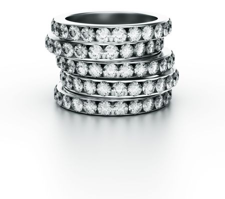3d rendering of 5 diamond rings photo