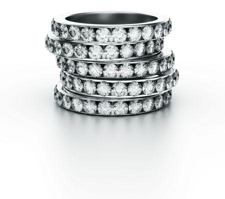 diamond ring: 3d rendering of 5 diamond rings
