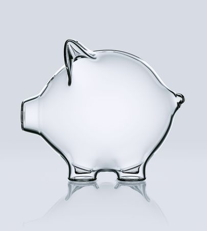 3d rendering of a piggy bank in glass photo