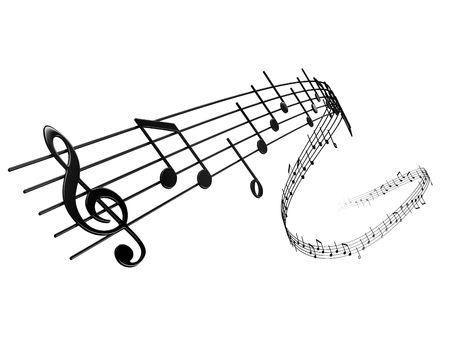 notas musicales: 3D de notas musicales Foto de archivo