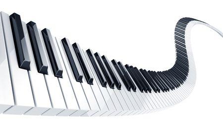 piano: 3D-rendering van golvende piano toetsen Stockfoto
