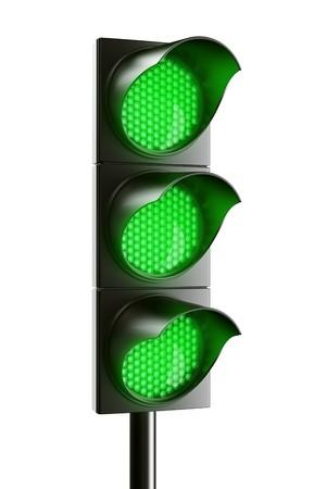 3d renderings fg an all green traffic light