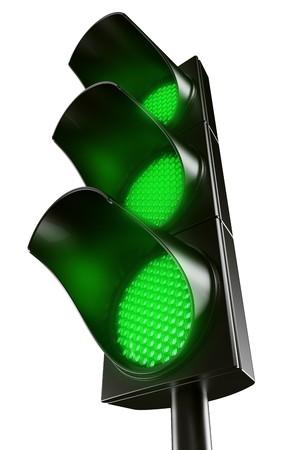 traffic light: 3d renderings fg an all green traffic light