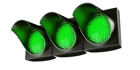 traffic signal: 3d renderings fg an all green traffic light